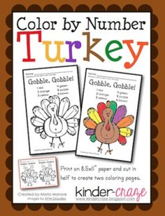 FREE! Color by Number Thanksgiving Turkey