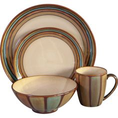 Warm your home decor in chic, rustic style with the Sango Flair Dinnerware - Brown - Set of 16. This earthy stoneware set will complement your traditional or modern decor with bold, sunset shades framed in chocolate brown.