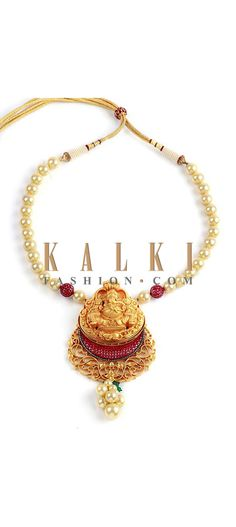 Buy Online from the link below http://www.kalkifashion.com/champagne-pearl-beaded-ganesha-necklace.html