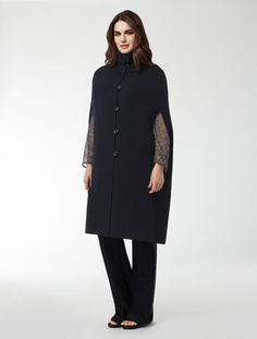 Long cape in pure wool