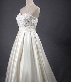 Custom make Vintage Strapless Sweetheart Satin White Ivory Lace Flower Embroidery Wedding Dress Bridesmaid Prom Evening Train Bridal Gown. $229.00, via Etsy.