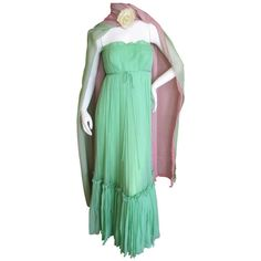 Jean-Louis Couture 1950's Pleated Silk Chiffon Dress with Sheer Wrap | From a collection of rare vintage evening dresses at http://www.1stdibs.com/fashion/clothing/evening-dresses/