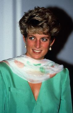 Princess Diana wearing a Catherine Walker dress on a visit to Lahore, Pakistan, September 25, 1991.
