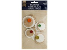 """Burlap Flowers Craft Embellishments, 96 - Great for scrapbooking, sewing, decorating and general craft use, this sweet 4-piece Burlap Flowers Craft Embellishments Set features layered fabric flowers with colored wooden button accents. Each piece measures approximately 2"""" to 2.5"""". Comes packaged in a poly bag with a header card.-Colors: white,green,red,orange,beige. Material: paper,cotton,wood,canvas. Weight: 0.1042/unit"""
