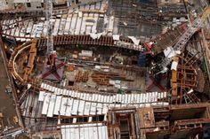 Cranes over the Transport Hub in July of 2012. Image © Mark Lennihan, AP