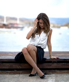 loose white, sleeveless button up tank, black skirt, black heels - gold accessories, red lip