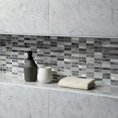 Creswell Grey Stone & Metal Mix Linear Mosaic 15x48mm