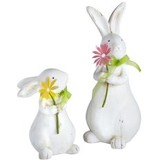 Ceramic Sitting Bunnies with Flowers