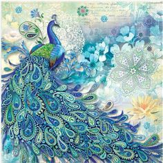 Punch Studio Paisley Peacock Disposable Napkins 3 Sizes.:
