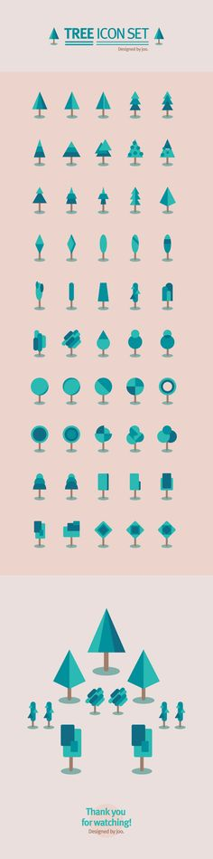 50 tree icon set by joo eunjeong, via Behance #icons #free