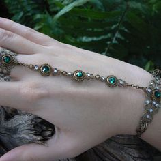 Swarovski slave bracelet Emerald GREEN hand chain hand flower slave ring bohemian Renaissance victorian moon goddess pagan boho gypsy style