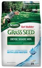 Grows quicker, thicker, greener grass, guaranteed!   Contains our exclusive WaterSmart® PLUS coating that absorbs 2X more water than uncoated seed, feeds to jumpstart seedlings' growth and protects against disease.   Exclusive mix of shade tolerant and self repairing grasses.    Ideal for seeding around or under dense trees.    Grows with as little as 3 hours of sunlight.    Click Here  for other helpful tips and tricks when planting grass seed.