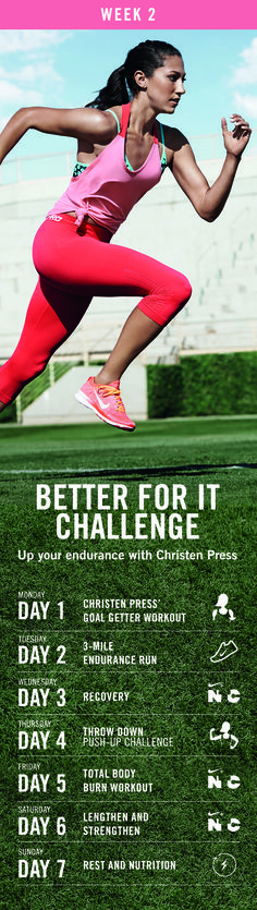Focus on form as you build endurance in week two of the Nike+ Training Club 90-Day Better For It Challenge.