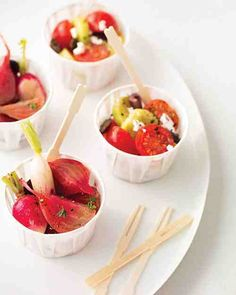 Appeal to guests' lighter sides by putting a few delicious good-for-you options on the menu. This baby-Greek salad is a mouthwatering appetizer that is a cinch to whip up.