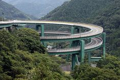 Kawazu-Nanadaru Loop Bridge, Japan ...This bridge is one of its own kinds with two spirals. Each spiral is 1.1 KM and 80 meter diameter. The terrain where this bridge is situated is mountainous and the only way to enter the mountainside is this bridge. Other than this bridge it is too steep for any other solution. This bridge was built in 1981. People from Tokyo take this route on the weekends to enter the resort situated in the mountains.