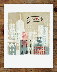 8x8 New York City Collage Skyline Art Print. $15.00, via Etsy.