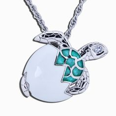 1303909b3af Guy Harvey Hatchling Sea Turtle Necklace Sterling Silver and Enamel