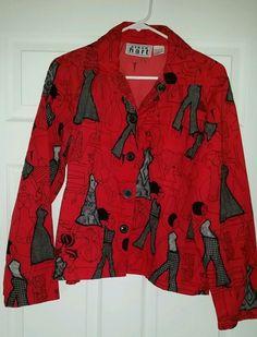 Keren Hart Ladies Fashion Art Deco Unique Red Button Up Shirt Jacket Sz M Cotton #KerenHart #ButtonDownShirt