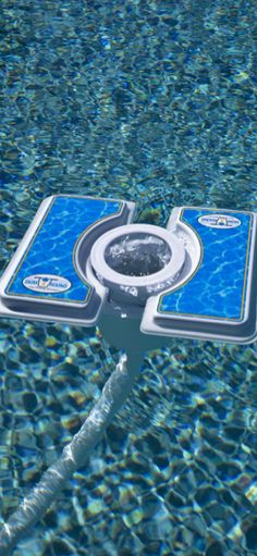 A MOVING pool skimmer. Attach the Skim-A-Round to your existing pool vacuum and watch it move around the pool, cleaning the entire pool surface.