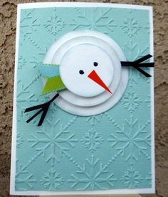 Snowman by AFrenchAccent - Cards and Paper Crafts at Splitcoaststampers (diy christmas cards snowman) Christmas Card Crafts, Homemade Christmas Cards, Christmas Cards To Make, Xmas Cards, Christmas Art, Homemade Cards, Handmade Christmas, Holiday Cards, Cricut Christmas Cards