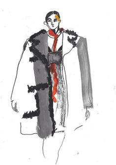 Illustrator Helen Bullock captures the drama and beauty of the latest Prada collection from Milan Fashion Illustration Face, Illustration Art Drawing, Illustration Mode, Fashion Illustrations, Textiles Sketchbook, Fashion Sketchbook, Fashion Sketches, Fashion Communication, Fashion Design Portfolio