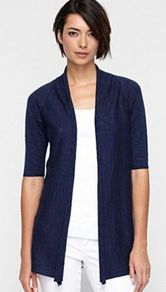 EILEEN FISHER Elbow Sleeve LINEN Slub Cardigan Sweater Swing Wrap Blue Shawl Collar Petite XS