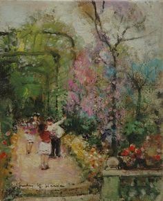 Jules-René Hervé - Dans le jardin de fleurs