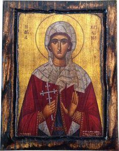 Saint St Christina - Orthodox Byzantine icon on wood handmade (22.5cm x 17cm)
