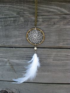 White Feathers Dream Catcher Necklace