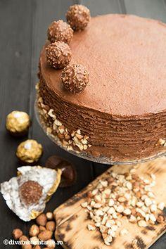 tort-fererro-rocher-8 Fererro Rocher, Diva, Cakes, Desserts, Food, Tailgate Desserts, Deserts, Food Cakes, Eten