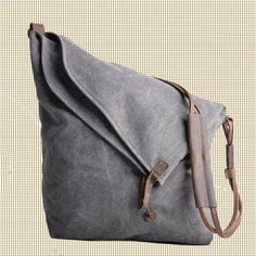 Gray Genuine Cow leather bag canvas bag BACKPACK Leather Briefcase / leather…