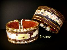 Pulseras cremallera I by * IMADO *, via Flickr Diy Zipper Jewelry, Zipper Crafts, Jewelry Crafts, Jewelry Art, Beaded Jewelry, Handmade Jewelry, Miniature Dolls, Miniature Houses, Bijoux Diy