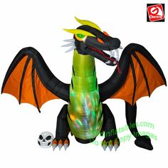 8796293f69e5b 12  Animated Dragon w  Color Changing Lights. Gemmy Airblown ...