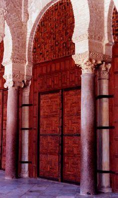 Africa Tunisia North Kairouan   door of mosquee by xavier