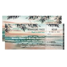 Boarding Pass Tropical Beach Wedding Tickets RSVP Card - click/tap to personalize and buy
