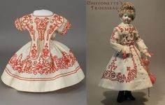 Museum Display Quality Huret Fashion Doll Dress Entirely Hand Sewn in the 1860's With Soutache Trim
