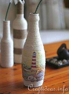 DIY Recycling Craft and Paper Napkin Decoupage - Bottle Vase 1 Wine Bottle Vases, Wine Bottle Crafts, Bottles And Jars, Jar Crafts, Glass Bottles, Mason Jars, Napkin Decoupage, Decoupage Ideas, Decoupage Art