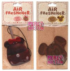 These are cute.  I want both!  Disneyland Scented Air Fresheners. #disney #minnie #mickey
