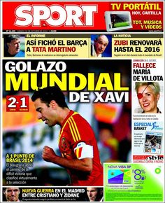 Los Titulares y Portadas de Noticias Destacadas Españolas del 12 de Octubre de 2013 del Diario Deportivo SPORT ¿Que le pareció esta Portada de este Diario Español?