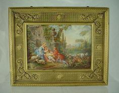 LARGE Signed 19c French Miniature Portrait Hand Painted on Ivory & Gilt Bronze Jewelry Casket
