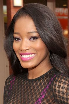KeKe Palmer ROOOCKS this bright pink (arguably purple) lip color.. and her purple eye liner looks awesome too.