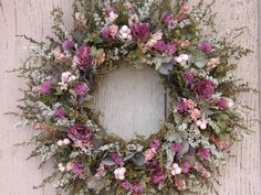 Dried Flower Wreath with Dried Roses and Hydrangea....would look nice in chucrch or above cake