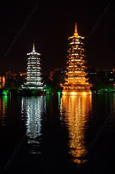 Pagoda del Sole e della Luna, Sun and Moon Pagoda - Lago Shanhu Lake - Guilin - China, Cina