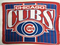 "Chicago Cubs Cubbies Baseball Red Blue Fleece Blanket 45 x 56"" Lightweight #Unbranded #ChicagoCubs"