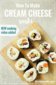 STOP eating sushi and watch this quick video to learn how to make low-carb sushi. So easy and so nutritious. Save this low-carb sushi recipe for school lunches. | ditchthecarbs.com via @ditchthecarbs