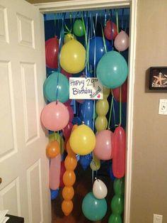 Birthday morning surprise. Or balloon avalanche.