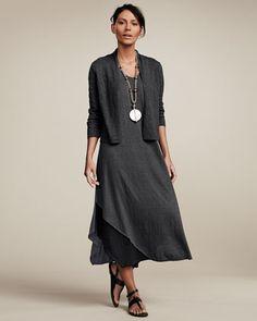 Eileen Fisher Three-Quarter Sleeve Colorblock V-Neck Jersey Dress, Women's