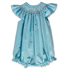 Petite Flowers Turquoise Gingham Seersucker English Smocked Girl Bubble 16SP 5840BUGTQ