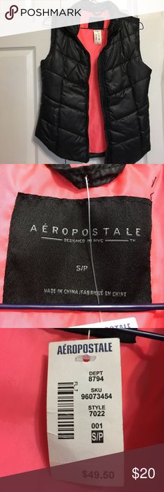 Vest Black Aeropostale vest. Brand new & never worn. Size small. Aeropostale Jackets & Coats Vests