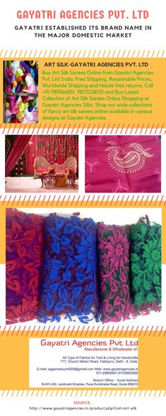 Buy Art Silk Sarees Online from Gayatri Agencies Pvt. Ltd India. Free Shipping, Reasonable Prices, Worldwide Shipping and Hassle free returns. Call +91-9811166851, 9873238510 and Buy Latest Collection of Art Silk Sarees Online Shopping at Gayatri Agencies Silks. Shop our wide collections of fancy art silk sarees online available in various designs at Gayatri Agencies.